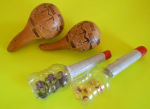 homemade and real maracas